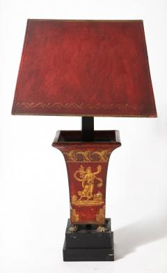Pair of Empire Red Tole Peinte Cachepots Mounted as Lamps - 1710754