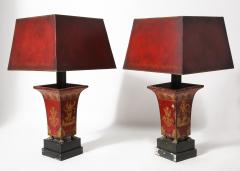 Pair of Empire Red Tole Peinte Cachepots Mounted as Lamps - 1710758