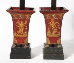 Pair of Empire Red Tole Peinte Cachepots Mounted as Lamps - 1710764