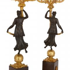 Pair of Empire period gilt and patinated bronze candelabra - 1234875