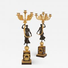 Pair of Empire period gilt and patinated bronze candelabra - 1234963