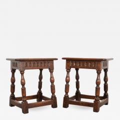 Pair of English 19th Century Oak Joint Stools - 1112953