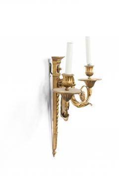 Pair of English Adam Style Bronze Dore Wall Sconces - 1398345