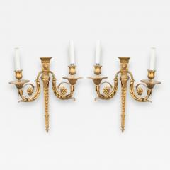 Pair of English Adam Style Bronze Dore Wall Sconces - 1403035