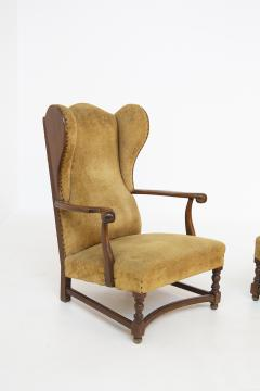 Pair of English Armchairs in Velvet and Walnut Wood from the Late 19th Century - 2084161