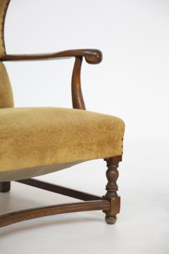 Pair of English Armchairs in Velvet and Walnut Wood from the Late 19th Century - 2084176