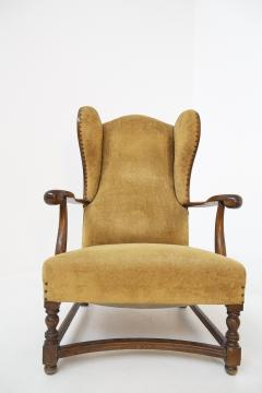 Pair of English Armchairs in Velvet and Walnut Wood from the Late 19th Century - 2084179