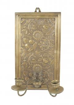Pair of English Arts and Crafts Floral Embossed Brass Wall Sconces - 1398721