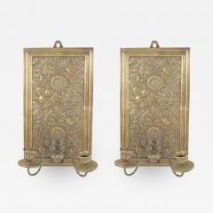 Pair of English Arts and Crafts Floral Embossed Brass Wall Sconces - 1403214