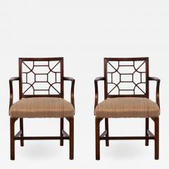 Pair of English Chinese Chippendale Style Arm Chair Pair - 1403377
