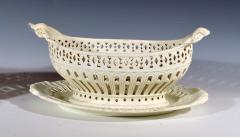 Pair of English Creamware Pottery Openwork Fruit Baskets Stands - 1635642