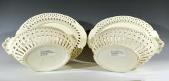 Pair of English Creamware Pottery Openwork Fruit Baskets Stands - 1635646