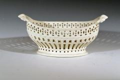 Pair of English Creamware Pottery Openwork Fruit Baskets Stands - 1635647