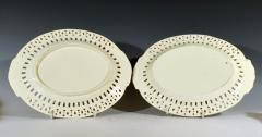 Pair of English Creamware Pottery Openwork Fruit Baskets Stands - 1635648