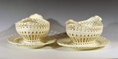 Pair of English Creamware Pottery Openwork Fruit Baskets Stands - 1635651