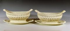 Pair of English Creamware Pottery Openwork Fruit Baskets Stands - 1635653