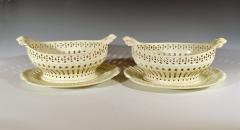 Pair of English Creamware Pottery Openwork Fruit Baskets Stands - 1635654