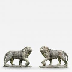 Pair of English Large Cast Stone Medici Lions - 1966191