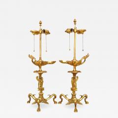 Pair of English Regency Gilt Bronze Sphinx Table Lamps - 1394867