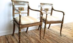 Pair of English Regency Painted Armchairs - 162891