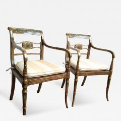 Pair of English Regency Painted Armchairs - 163240