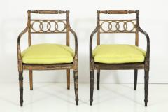 Pair of English Regency Painted and Parcel Gilt Side Chairs - 781788
