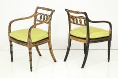 Pair of English Regency Painted and Parcel Gilt Side Chairs - 781789