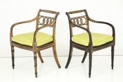 Pair of English Regency Painted and Parcel Gilt Side Chairs - 781790
