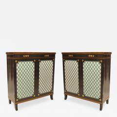 Pair of English Regency Style Ebonized Trill Doors Commodes - 742053