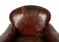 Pair of English Victorian Brown Leather Club Chairs - 1403538