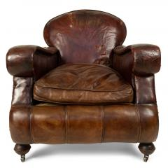 Pair of English Victorian Brown Leather Club Chairs - 1403539