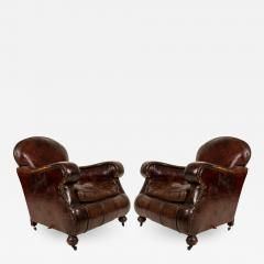 Pair of English Victorian Brown Leather Club Chairs - 1407898