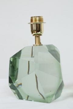 Pair of Faceted Murano Translucent Green Glass Table Lamps in Stock - 1684050