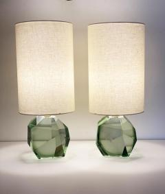 Pair of Faceted Murano Translucent Green Glass Table Lamps in Stock - 1684051