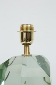Pair of Faceted Murano Translucent Green Glass Table Lamps in Stock - 1684052