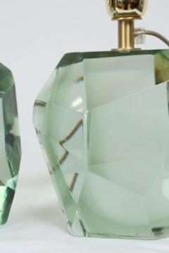 Pair of Faceted Murano Translucent Green Glass Table Lamps in Stock - 1684053