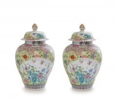 Pair of Famille Rose Porcelain Vases with Covers - 1899804