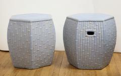 Pair of Faux Bamboo Garden Stools - 1311058