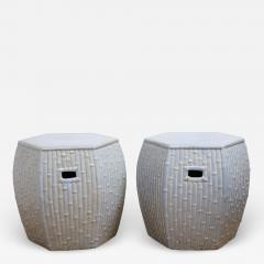 Pair of Faux Bamboo Garden Stools - 1338703