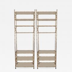 Pair of Faux Bamboo Silvered Etageres - 1100908