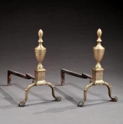 Pair of Federal Engraved Brass Andirons - 296444