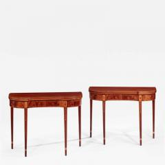 Pair of Federal Inlaid Kidney Shaped Card Tables - 1401172