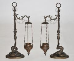 Pair of Figural Bronze Serpent Incense Burners Censers 19th Century Italy - 939658