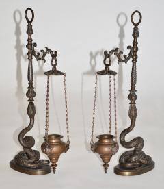 Pair of Figural Bronze Serpent Incense Burners Censers 19th Century Italy - 939661