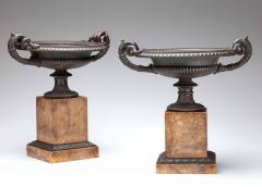 Pair of Fine Bronze Tazza on Sienna Marble Bases - 544656