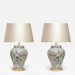 Pair of Fine Painted Famille Verte Porcelain Lamps - 1902024