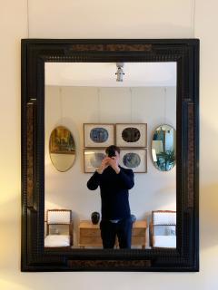 Pair of Flemish Style Faux Tortoishell and Ebonised Ripple Frame Mirrors - 1493287