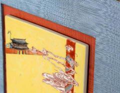 Pair of Framed Famille Jaune Porcelain Plaque Qing Dynasty - 1018594