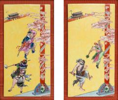 Pair of Framed Famille Jaune Porcelain Plaque Qing Dynasty - 1018595