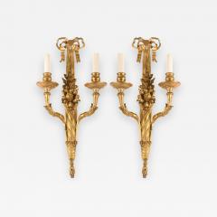 Pair of French 18th Century Louis XVI Ormolu Two Arm Sconces - 637734